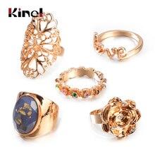 Kinel Vintage opale anneaux grande pierre bague ensemble pour les femmes Antique couleur or Midi Knuckle fête cadeaux déclaration bijoux 5 pièces/ensemble
