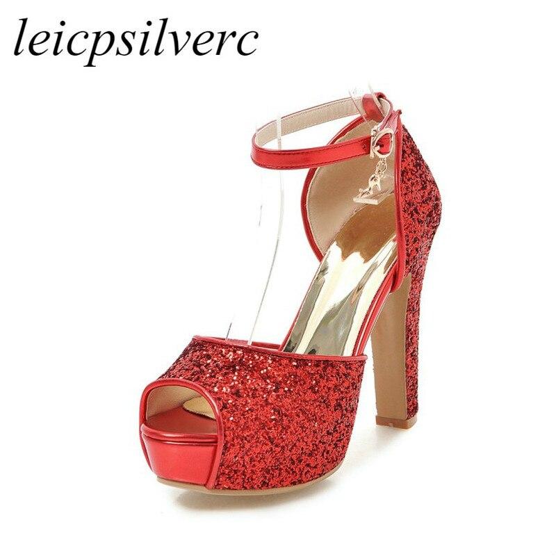 Women Sandals Shoe Super High Heel Pu Bling Peep Toe Platform Buckle Summer New Sex Fashion Casual Wedding Gold Silver Black Red