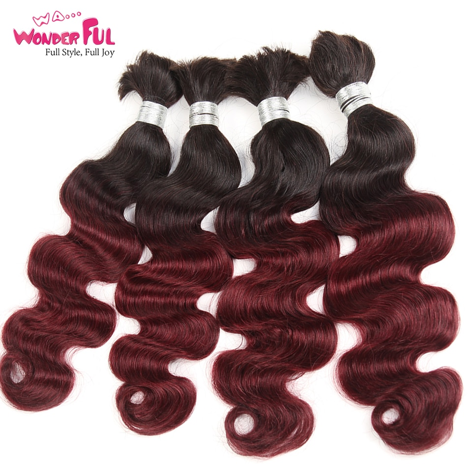 3/4 Bundles Peruvian Body Wave Bundles Human Braiding Hair Bulk No Weft Remy Human Hair Bundles T1B/99J 10-22 Inch