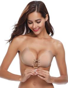 Sexy Invisible Push Up Bra Self-Adhesive Silicone Seamless Front Closure Sticky Backless Strapless Bra