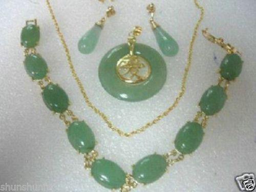 Conjuntos de pendientes de pulsera, collar de jade Natural, joyería