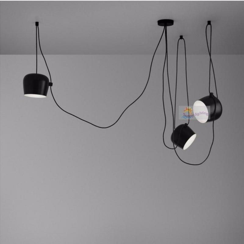 Bar Black Bongos light for showcase cord lamp modern stair light long pendant lights string aluminum spider light adjustable