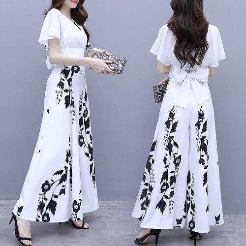 الأزهار طباعة المرأة اثنين من قطعة ملابس ريترو النساء 2 قطعة مجموعة بلوزات وسراويل بالازو السراويل دعوى العصرية فرقة فام دوكس قطع