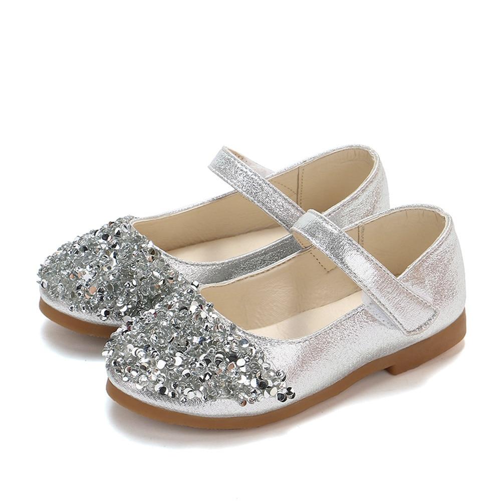 Zapatos de moda para bebés y niñas, zapatos de princesa para niños pequeños de piel de cristal, zapatos para fiesta de baile planos de princesa gd