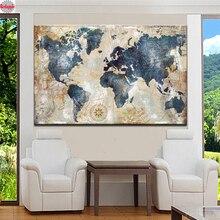 Diamond Embroidery,Wall Decoration Watercolor World Map,5D,diy Diamond Painting Cross Stitch,3d picture,Diamond Mosaic stickers