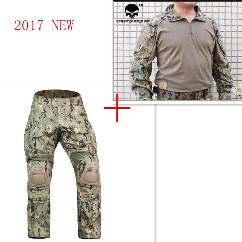 Airsoft Emerson bdu G3 uniforme de combate pantalones camisa con rodilleras Emerson bdu militar ejército AOR2 camuflaje trajes EM8596 + 7049
