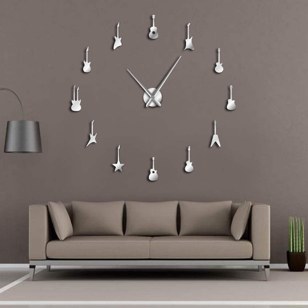Гигантские настенные часы «сделай сам» для гитары, украшения музыкальной комнаты, большие бескаркасные настенные часы «сделай сам», «Рок-н-...