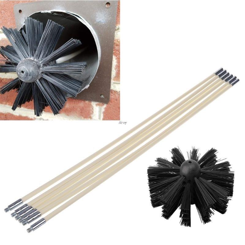 Escova de náilon com 6 pçs cabo longo flexível tubo hastes para chaminé chaleira casa limpeza kit ferramenta 19qb