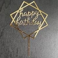 free shipping 20 pcs custom gold mirror cake topper gold acrylic happy birthday