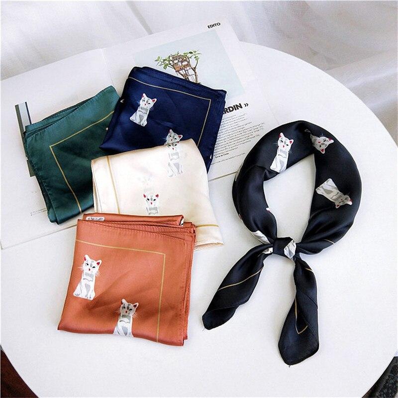 60*60cm novo elegante feminino lenço de seda foulard impressão cabeça de gato pescoço bandana cabelo gravata banda bufanda mujer pequeno lenço quadrado vintage