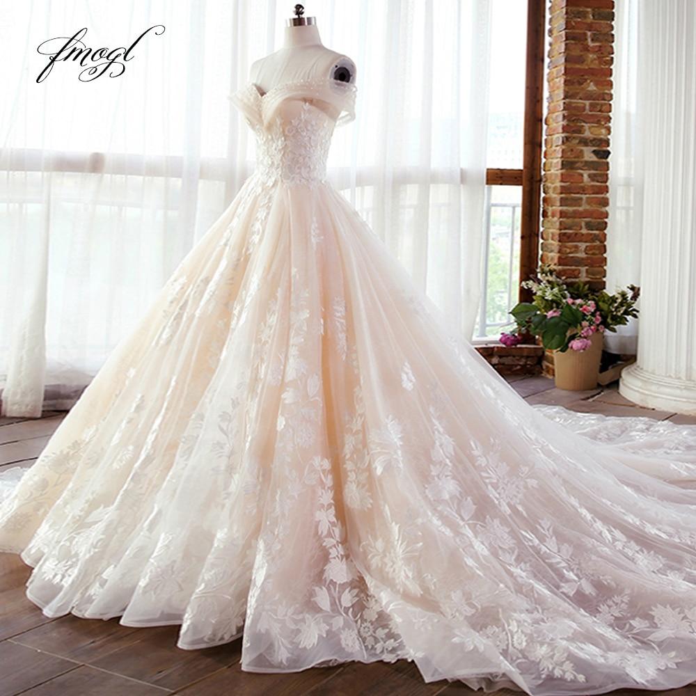 Кружевное бальное платье Fmogl, платье для свадьбы с вырезом лодочкой и аппликацией из бусин, 2019