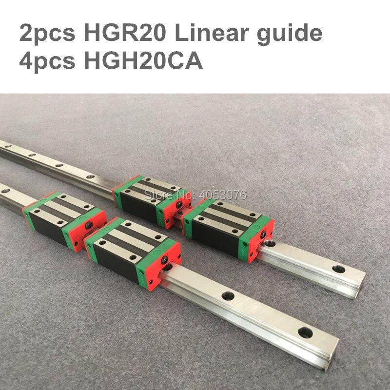 Envío gratis 2 piezas HGR20 200, 300, 400, 500, 600, 700, 800, 900, 1000, 1100mm carril lineal y 4 piezas piezas CNC bloques HGH20CA o HGW20CA