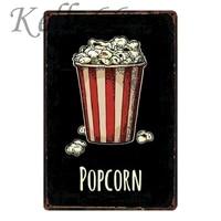 Kelly66     affiche metallique pour Festival cinema  pop-corn  en etain  decoration de maison  peinture artistique murale  pour Bar  taille 20x30 CM  y-1906