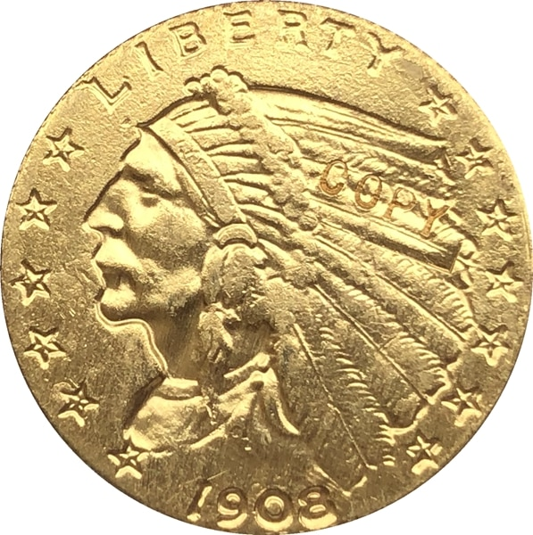 Позолоченная монета с изображением орла 24-к, 1908 $5, Золотая индийская полумонета с изображением орла, бесплатная доставка