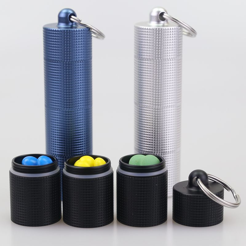 Diy cápsula pílula caso edc à prova dwaterproof água portátil selado garrafa mini medicina caixa liga de alumínio chave ferramenta
