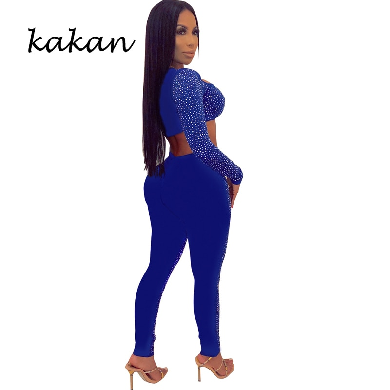 kakan 2019 spring new womens hot drilling body tights sexy wrapped chest hollow bodysuit blue backless