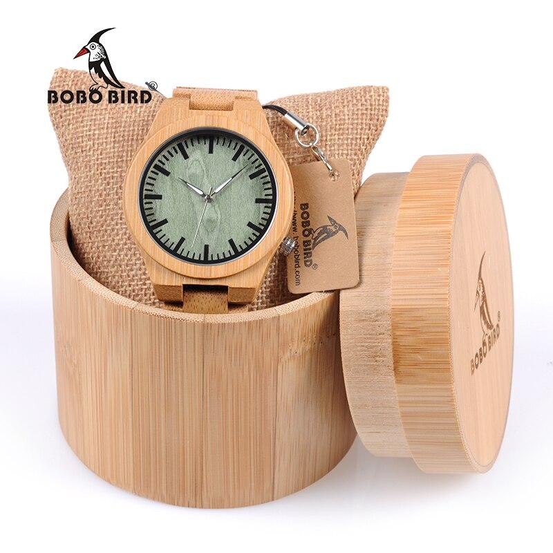 BOBO BIRD-ساعة بامبو بمؤشر فضي للرجال ، صناعة يدوية ، صندوق خشبي ، WB22
