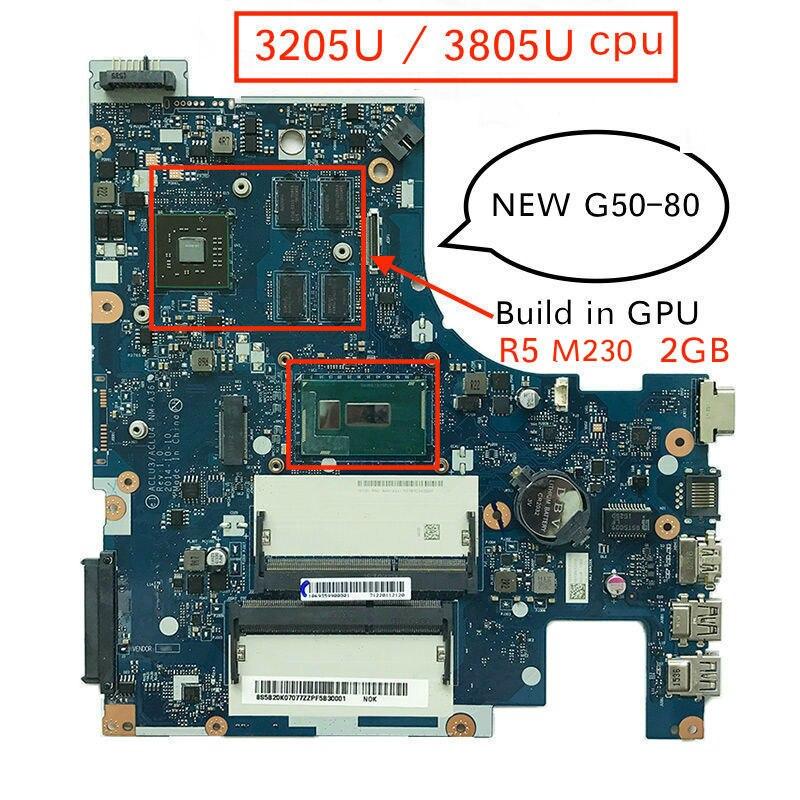 100% جديد الأم مجلس لينوفو G50-80 ACLU3/ACLU4 NM-A361 دفتر اللوحة pc مع 3205U 3805U cpu R5 M230 2GB