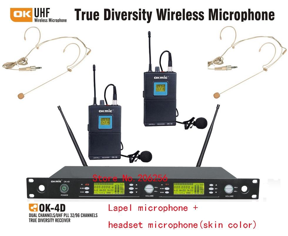 High Quality okmic OK-4D/1B H3 Professional UHF/PLL true diversity wireless microphone system Lapel dual Headset mic transmitter