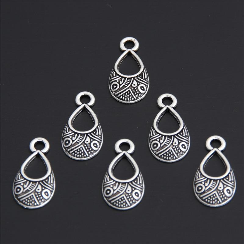 20pcs Filigree Water Drop Charms Silver Color Brass Teardrop Pendant DIY Necklace Pendant 17x9mm A2990
