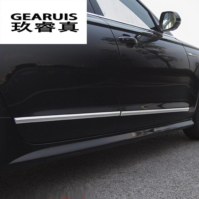 Pegatinas de faldón lateral para coche, decoración lateral para carrocería, puerta, cintura, decoración, cubiertas de molduras para Audi A6 C7 2012-2018, accesorios