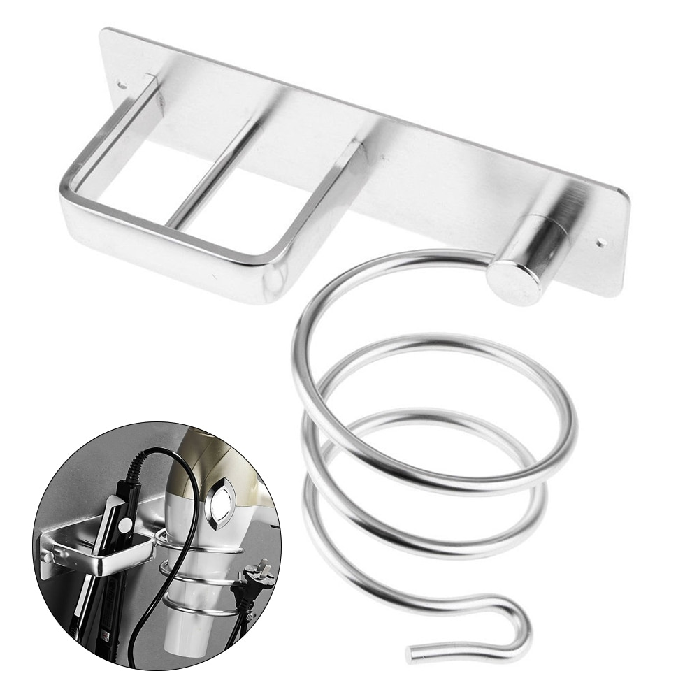 1 PC Aluminum Wall Mounted Hair Dryer Rack Organizer Hairdryer Straightener Holder Set Bathroom Shelf For Washroom Supplies