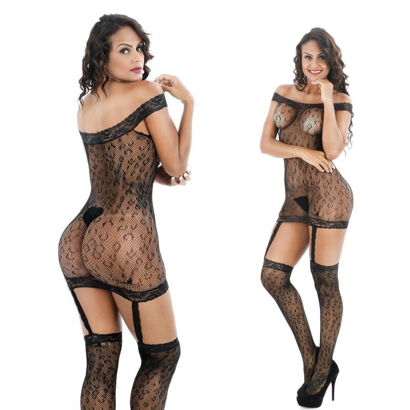 Lencería sexi de mujer Leechee Q855, lencería erótica ahuecada con perspectiva de encaje rojo bordado, disfraces transparentes de porno