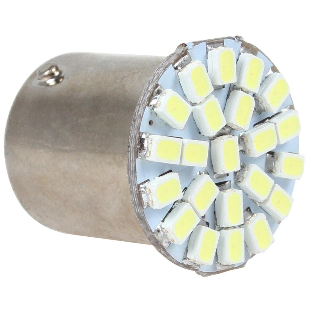 12V 4W 1157 22 SMD 1206 LEDs LED de luz blanca de la luz de indicación de giro de coche Universal de freno para automóvil bombilla 19x23mm