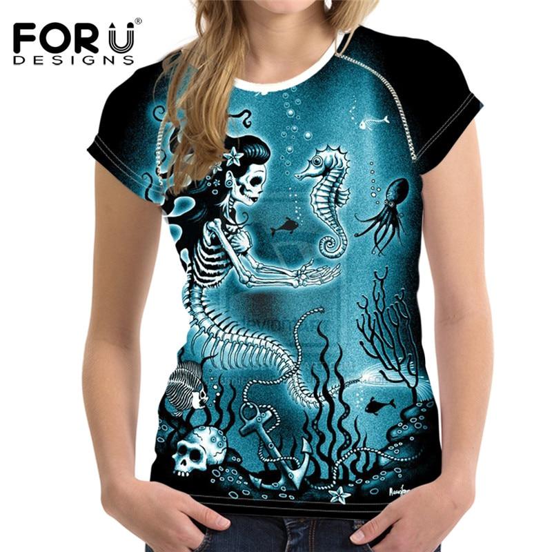 FORUDESIGNS, camiseta bonita de Calavera, camisetas de mujer, camisetas de verano Kawaii para mujer, camiseta de talla grande para chicas, camiseta de manga corta harajuku