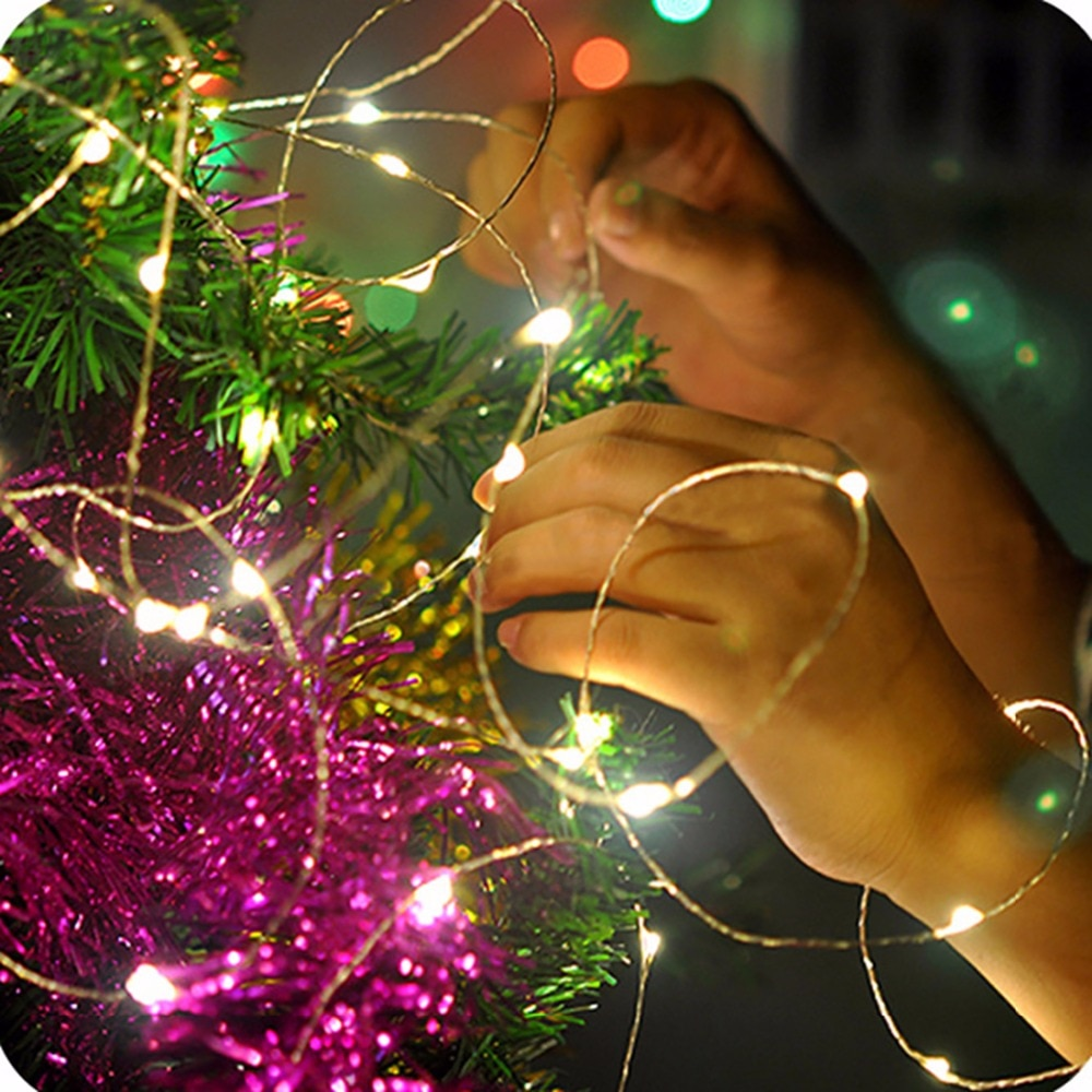 fairy lights usb 5m 10m silver led copper wire string light christmas holiday lights wedding patio decorations garden lighting 2M/3M/5M/10M LED Silver wire/Copper Wire 3AA Battery Operated LED Fairy String Light for Christmas Holiday Wedding Party lights