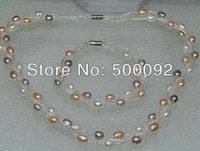 aa genuine mix rice freshwater pearl sets necklace bracelet