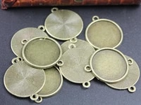 10pcs antique silver toneantique bronze base setting tray bezel connector pendant charmfindingfit 25mm round cabochoncameot