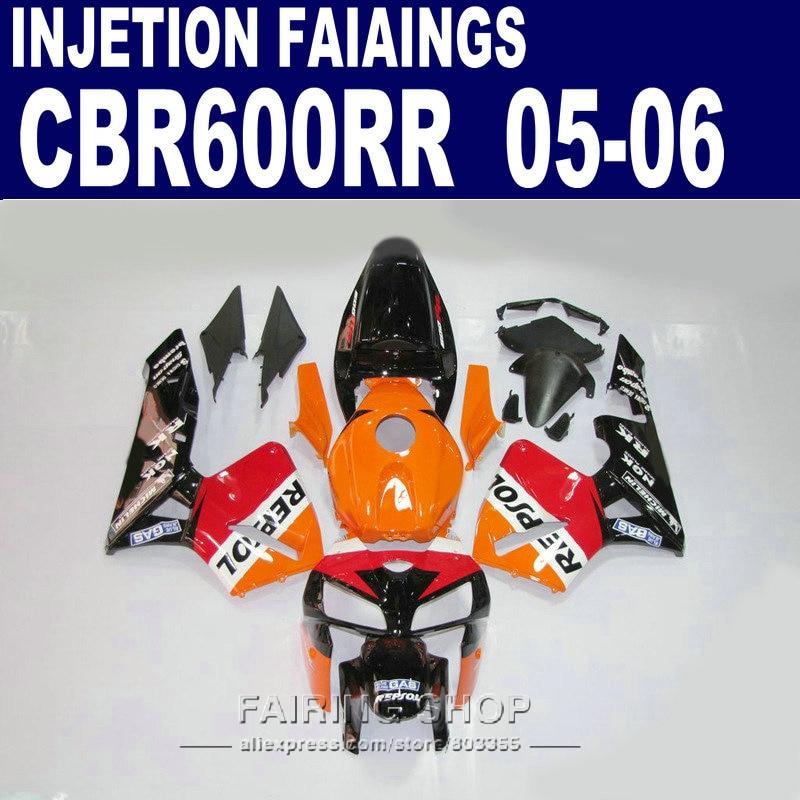 Kits de ajuste 100%, carenados CBR600RR 2005 2006 REPSOL oRANGE cbr 600rr 05-06 kit de carenado para Honda l42