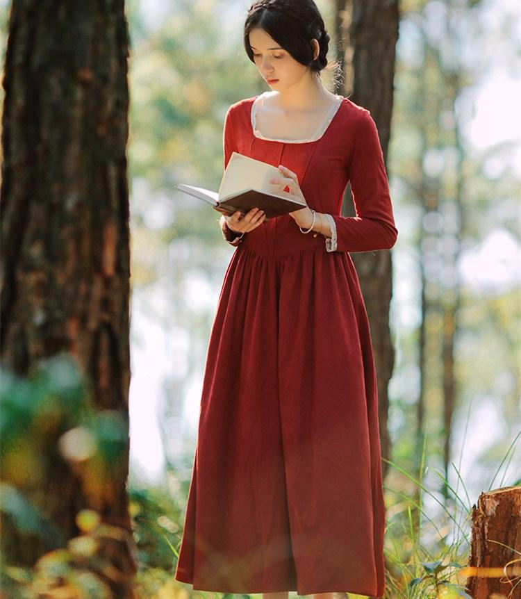 الخريف الشتاء النساء خمر البرتقال الأحمر الجلد المدبوغ طويل اللباس السيدات قصر نمط مربع طوق طويلة الأكمام عالية الخصر أنيقة الملابس