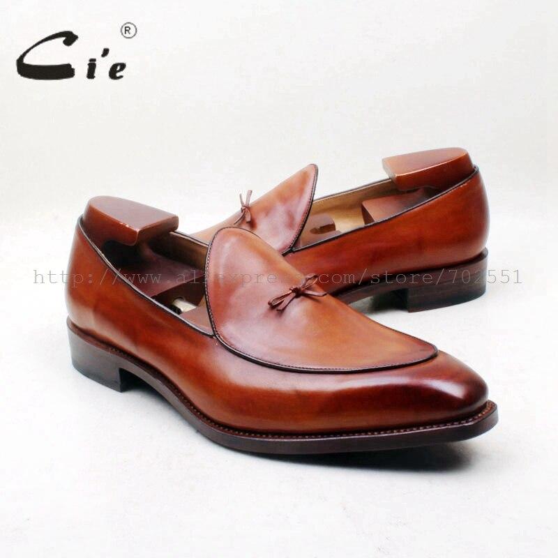 Cie бантом квадратный носок 100% натуральная кожаная подошва одежда, сшитая на заказ, Goodyear обшитая обувь ручной работы; Коричневые Для мужчин, обувь без шнуровки, Loafer164-1