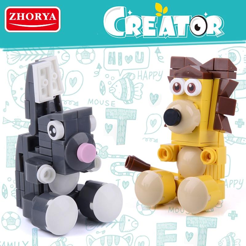 Zhorya blocos de construção leão coelho tijolos modelo brinquedos para crianças criador iluminar brinquedo educativo meninos brinquedos presente aniversário