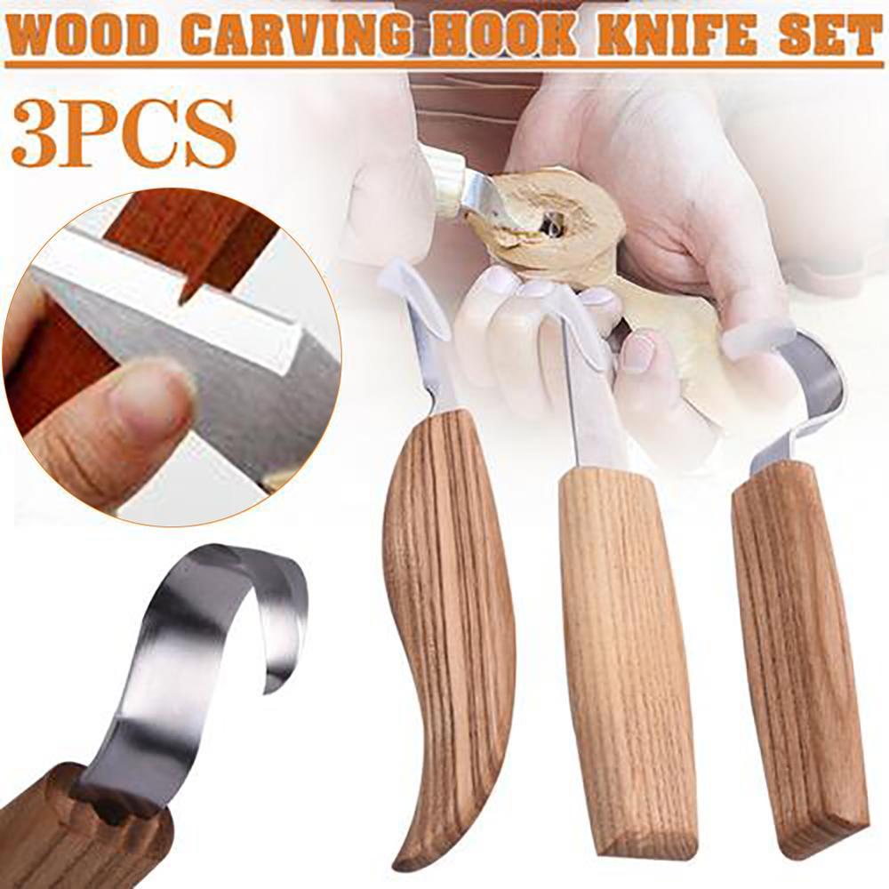 Juego de 3 Uds de Herramienta de combinación manual para carpintería, caja de cuchara de regalo, gancho de tallado en madera, cortador de cuchillos, kit de herramientas de mano para manualidades DIY