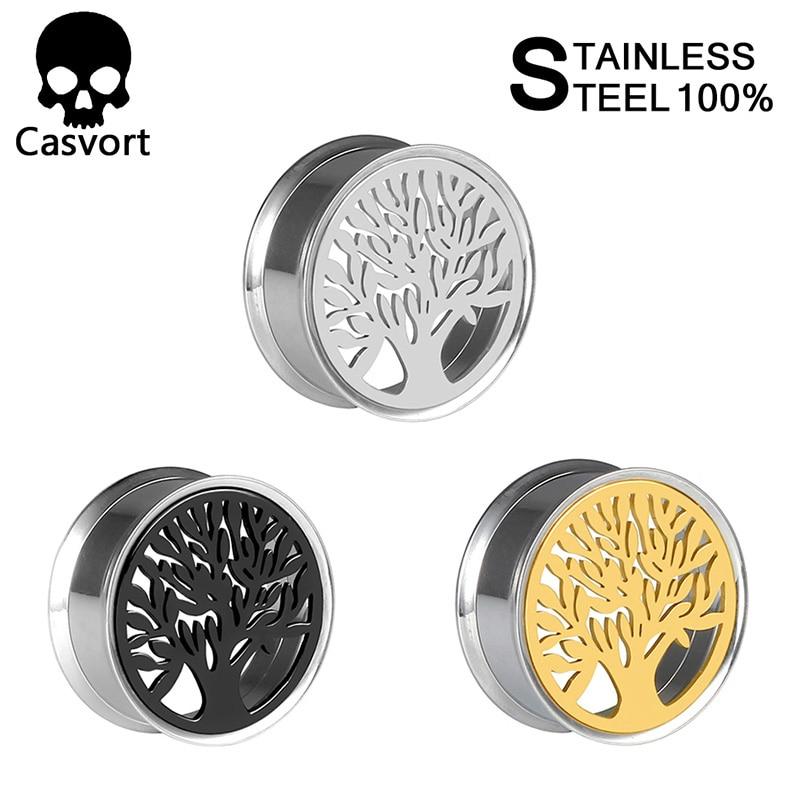 ¡Novedad! ¡venta al por mayor! Pendientes de Piercing para oreja de acero inoxidable con forma de árbol de la vida 316