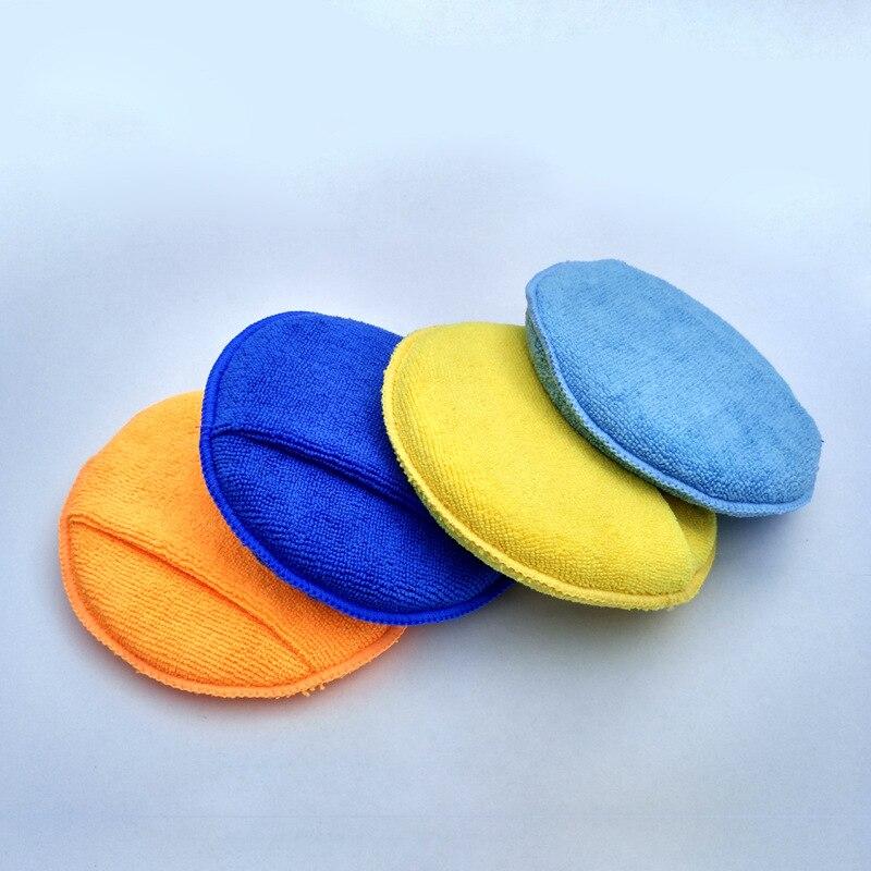 Esponja de microfibra 3PSC para dedo redondo, esponja para cera, accesorios de coche, almohadilla de pulido, aplicador de cera para el cuidado del coche