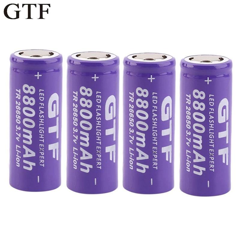 GTF 26650 аккумулятор 8800 мАч 3,7 в литий-ионный перезаряжаемый аккумулятор светодиодный светодиодного фонарика, литий-ионный аккумулятор, аккумулятор
