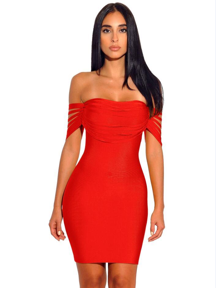 Color rojo damas HL vendaje vestido de moda celebridad alfombra roja vestido el hombro Bodycon Mini vestido
