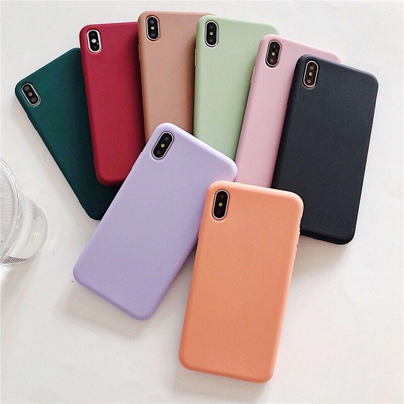 7 N1986N Doce Cor Para o iphone 6 6s 8 Plus X XR XS Max Caso de Telefone Bonito Cor Sólida simples Caso de Telefone de Silicone Macio Para o iphone X