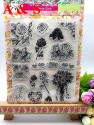 Rose Flor Presente Stamp DIY Selos de Silicone Transparente Claro Fazer Scrapbooking/Cartão/Foto Álbum de Decoração Artesanato