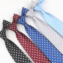 Cravates slim en polyester 8 cm pour hommes   Cravate de col à la mode avec des points, cravate à pois, cravate jacquard en polyester pour hommes
