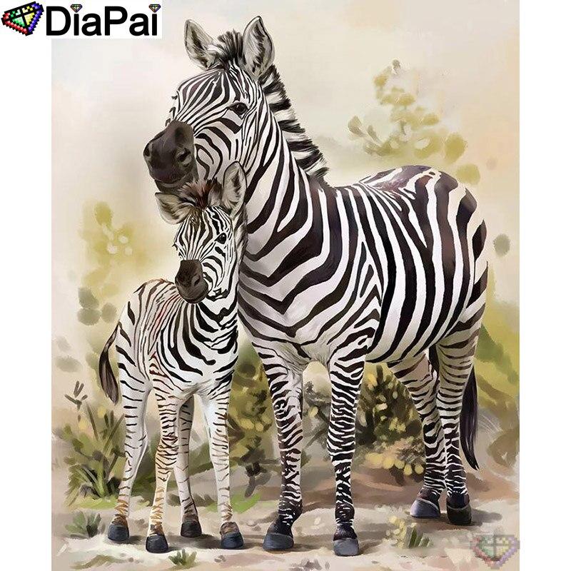 """DIAPAI 100% Total Square/Rodada Broca 5D DIY Pintura Diamante """"Animal zebra"""" Diamante Bordado Ponto Cruz 3D decor A21731"""