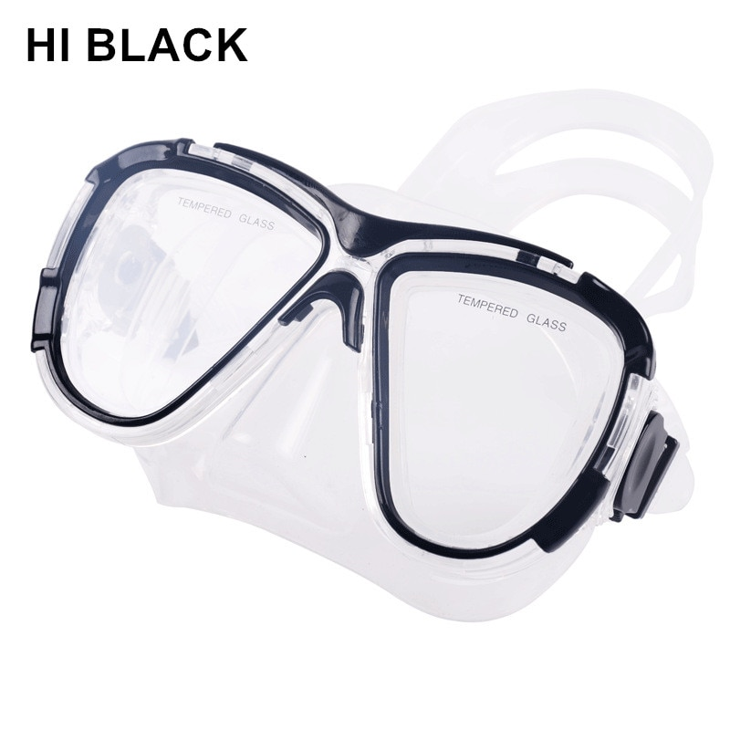 Máscara de buceo de miopía negra HI con lente graduada (Nearsight 0-9,0), máscara correctiva de buceo dioptrías