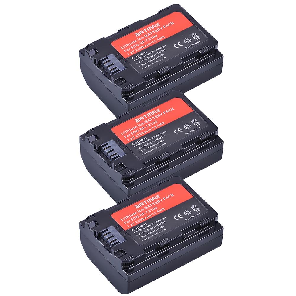 Batmax 3pcs 2280mAh NP-FZ100 NP FZ100 Battery for Sony NPFZ100, BC-QZ1 Alpha 9, A7RIII, ILCE-7RM3, a9, Sony A9R Sony Alpha 9 s