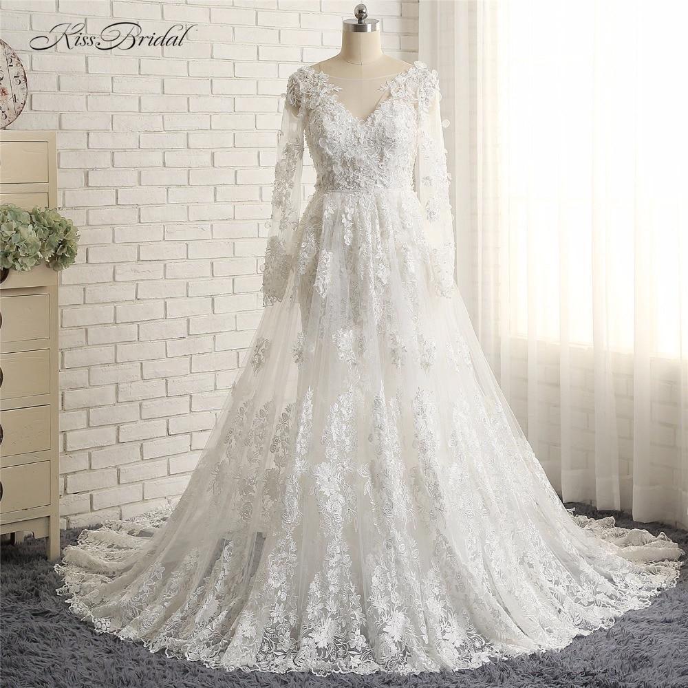 Vestidos de novia blancos nuevo elegante de encaje de la boda vestido...