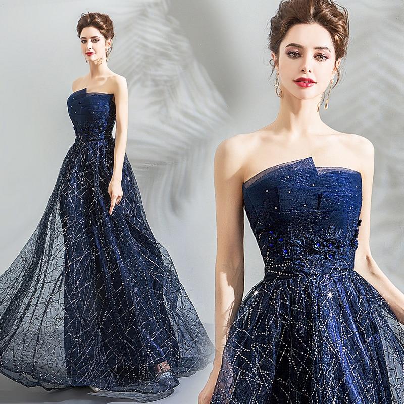 Personality Dress~Noble Strapless Starry Sky Blue Galaxy Feeling Dark Blue Prom Dress 139