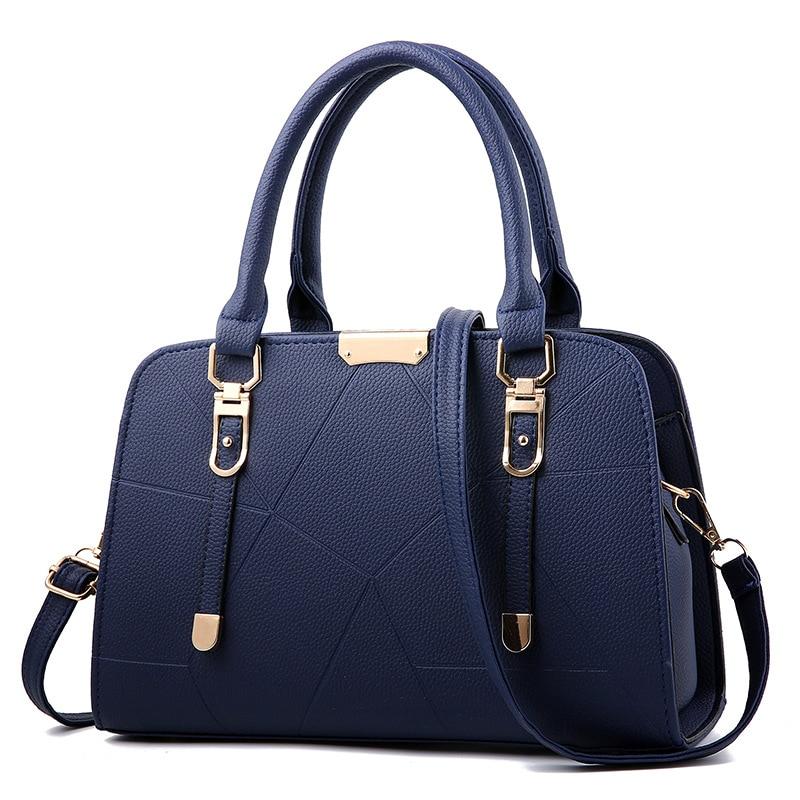 Women Bag Vintage Handbag Casual Tote Fashion Women Messenger Bags Shoulder Top-Handle Purse Wallet Leather 2018 New Black Blue